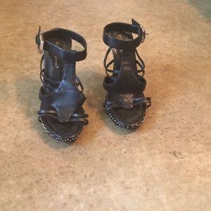 BCBG Generation black strapless heels